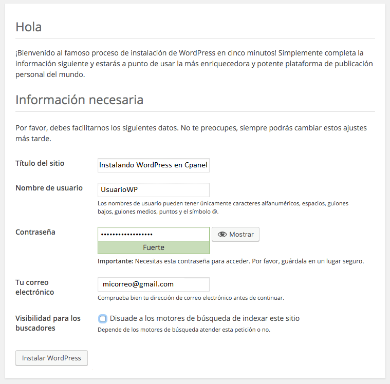 instalar wordpress en hosting