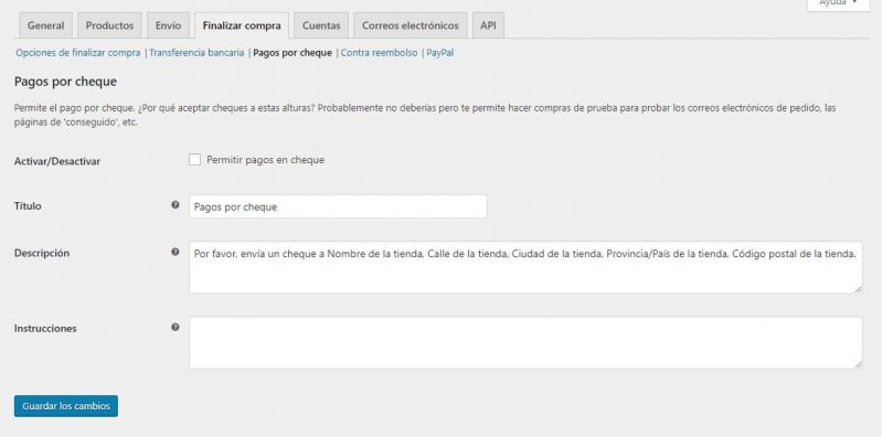 WooCommerce Pagos por Cheque - is checkout page woocommerce