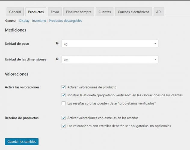 WooCommerce Productos General - woocommerce api